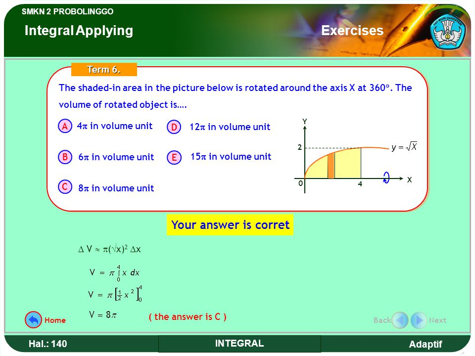 Adaptif SMKN 2 PROBOLINGGO Hal.: 140 INTEGRAL The shaded-in area in the picture below is rotated around the axis X at 360 .