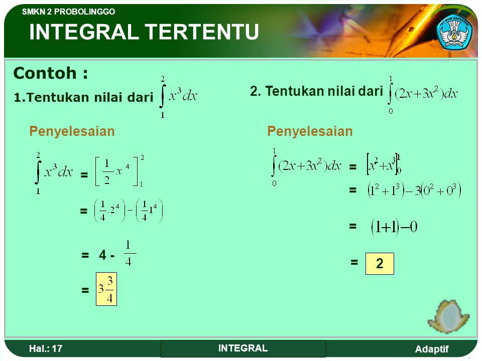 Adaptif SMKN 2 PROBOLINGGO Hal.: 16 INTEGRAL INDEFINITE INTEGRAL TThe characteristics of certain integral 1. 2. 3. 4.
