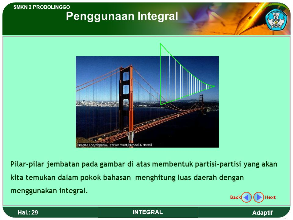 Adaptif SMKN 2 PROBOLINGGO Hal.: 28 INTEGRAL The Collapse Bridge Tacoma, Washington The length of Tacoma bridge was 1,8 km opened on July 1 st 1940. F