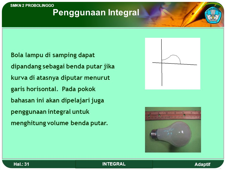 Adaptif SMKN 2 PROBOLINGGO Hal.: 30 INTEGRAL The bridge pillars in the above picture formed partion that we would find in the main discussion to calcu