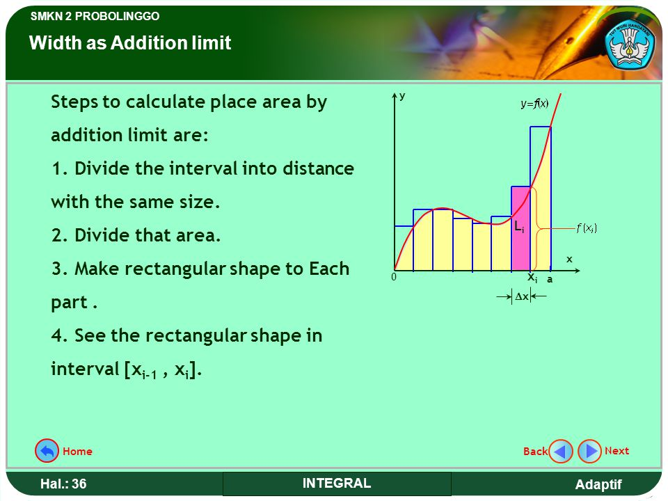 Adaptif SMKN 2 PROBOLINGGO Hal.: 36 INTEGRAL Steps to calculate place area by addition limit are: 1.