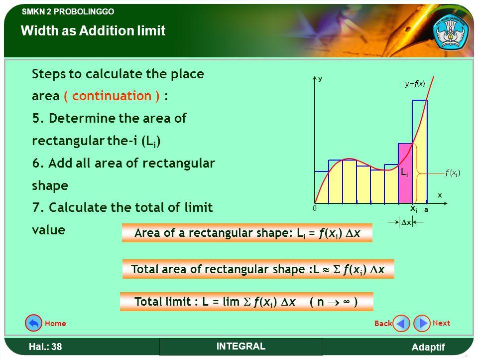 Adaptif SMKN 2 PROBOLINGGO Hal.: 38 INTEGRAL Steps to calculate the place area ( continuation ) : 5.