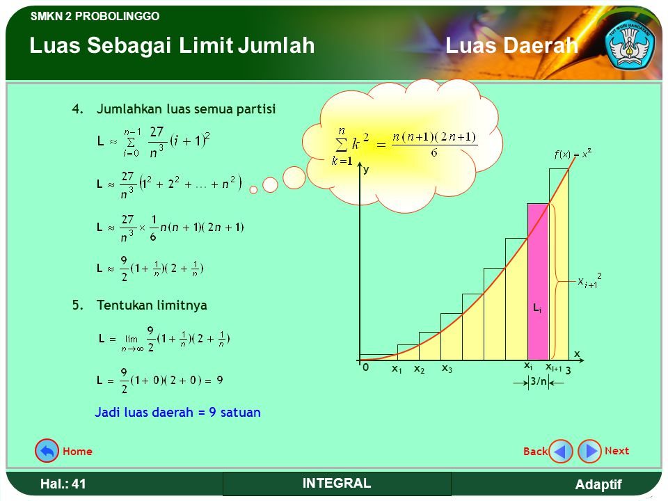 Adaptif SMKN 2 PROBOLINGGO Hal.: 40 INTEGRAL Determine place area that limited by curve y = x 2, axis X, and line x = 3 by using addition limit step.