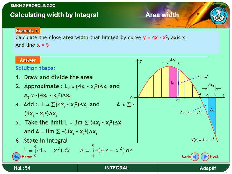 Adaptif SMKN 2 PROBOLINGGO Hal.: 54 INTEGRAL Solution steps: 1.Draw and divide the area 2.Approximate : L i  (4x i - x i 2 )  x i and A j  -(4x j - x j 2 )  x j 4.