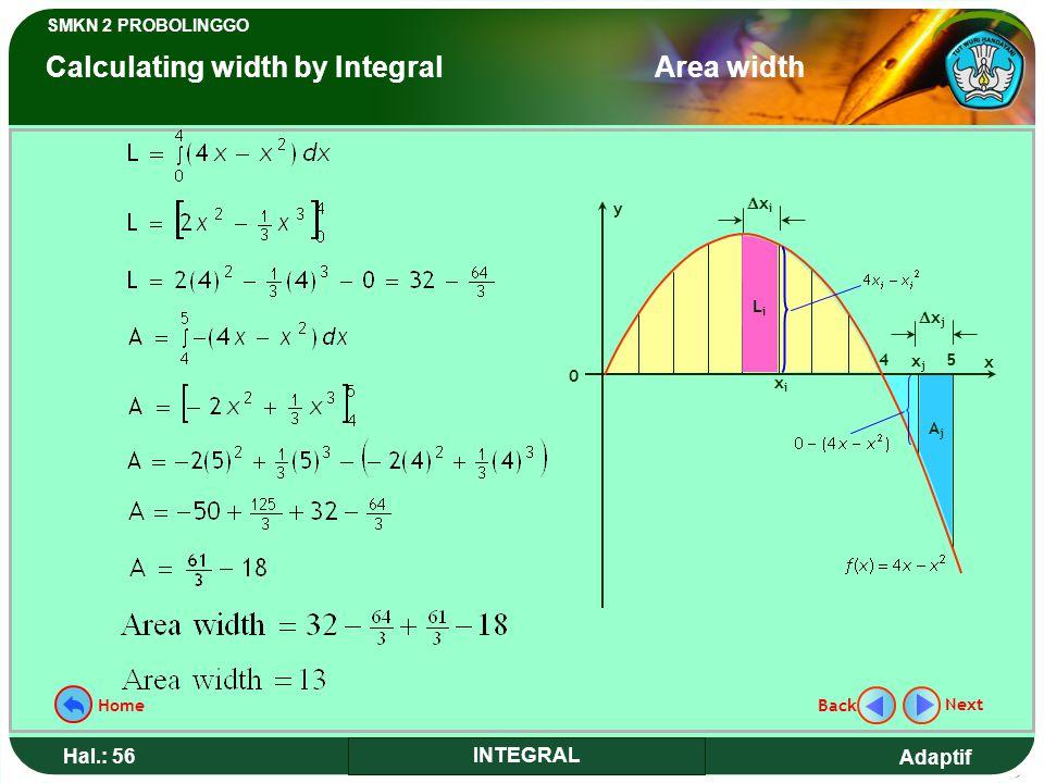 Adaptif SMKN 2 PROBOLINGGO Hal.: 56 INTEGRAL y 0 x 54 xixi LiLi xixi xjxj AjAj xjxj Next Back Home Calculating width by Integral Area width