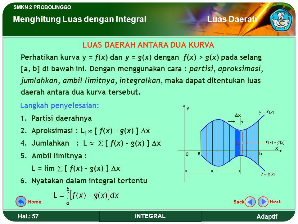 Adaptif SMKN 2 PROBOLINGGO Hal.: 57 INTEGRAL LUAS DAERAH ANTARA DUA KURVA Perhatikan kurva y = f(x) dan y = g(x) dengan f(x) > g(x) pada selang [a, b] di bawah ini.