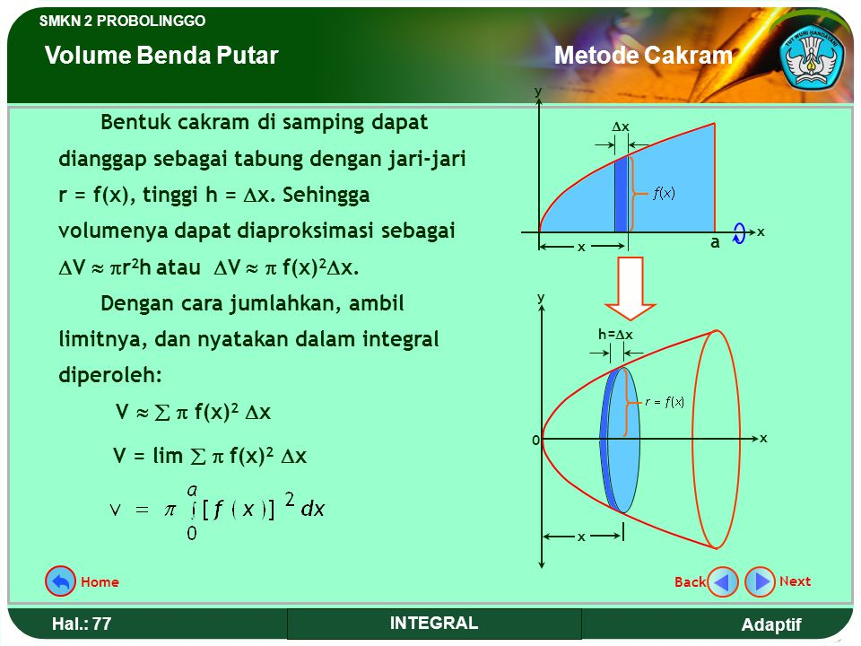 Adaptif SMKN 2 PROBOLINGGO Hal.: 76 INTEGRAL Disk method that is used in determining volume of rotated object and can be analogized like determining c