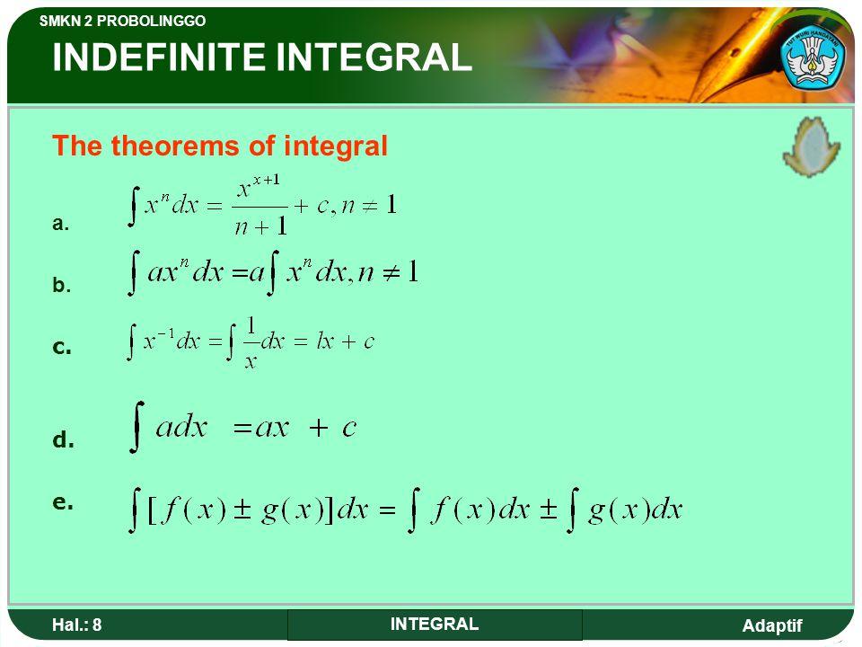 Adaptif SMKN 2 PROBOLINGGO Hal.: 8 INTEGRAL INDEFINITE INTEGRAL The theorems of integral a.