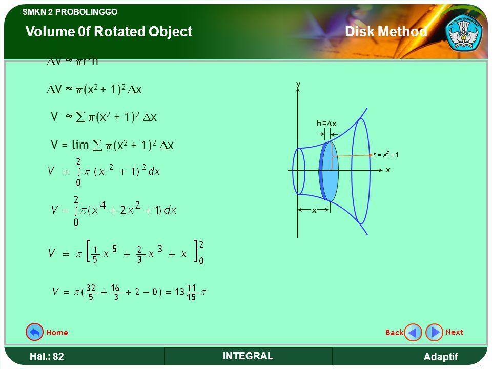 Adaptif SMKN 2 PROBOLINGGO Hal.: 82 INTEGRAL y h=  x x x  V   r 2 h  V   (x 2 + 1) 2  x V    (x 2 + 1) 2  x V = lim   (x 2 + 1) 2  x Next Back Home Volume 0f Rotated Object Disk Method