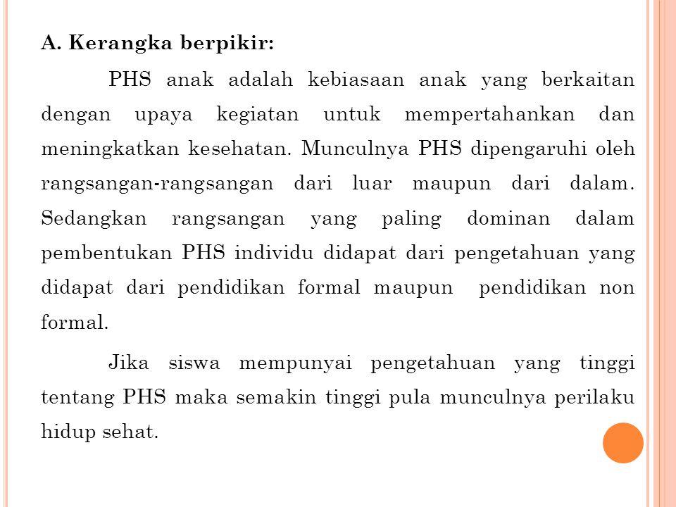 A. Kerangka berpikir: PHS anak adalah kebiasaan anak yang berkaitan dengan upaya kegiatan untuk mempertahankan dan meningkatkan kesehatan. Munculnya P