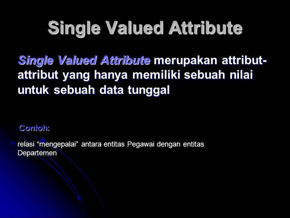 Single Valued Attribute Single Valued Attribute merupakan attribut- attribut yang hanya memiliki sebuah nilai untuk sebuah data tunggal Contoh: relasi