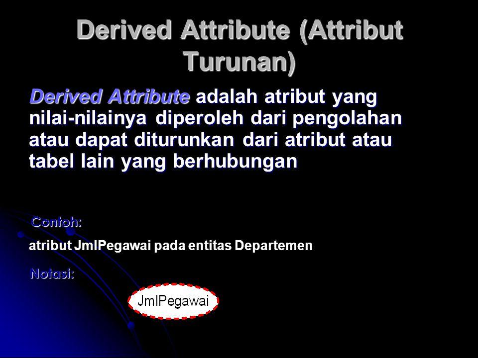 Derived Attribute (Attribut Turunan) Derived Attribute adalah atribut yang nilai-nilainya diperoleh dari pengolahan atau dapat diturunkan dari atribut