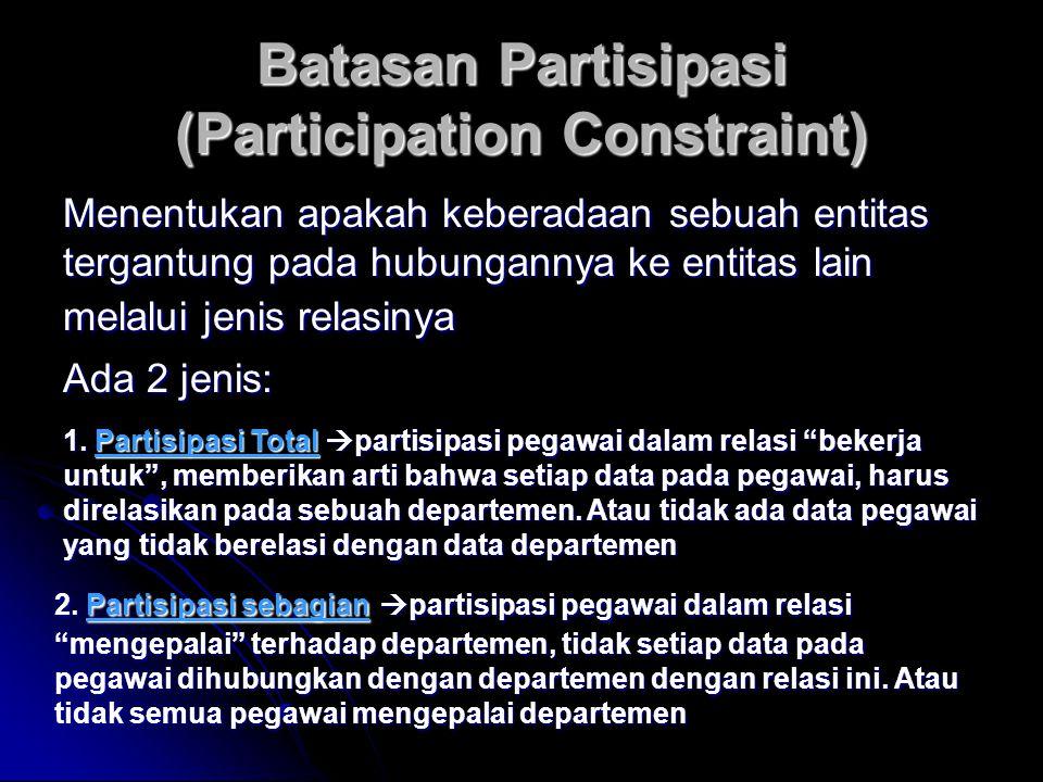 Batasan Partisipasi (Participation Constraint) Menentukan apakah keberadaan sebuah entitas tergantung pada hubungannya ke entitas lain melalui jenis r