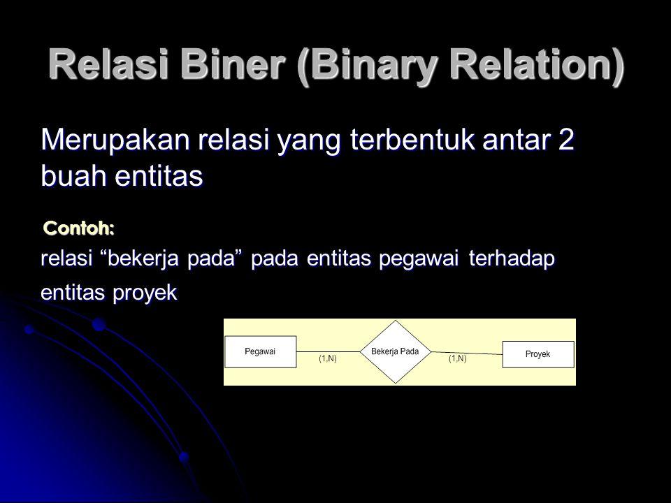 """Relasi Biner (Binary Relation) Merupakan relasi yang terbentuk antar 2 buah entitas Contoh: relasi """"bekerja pada"""" pada entitas pegawai terhadap entita"""