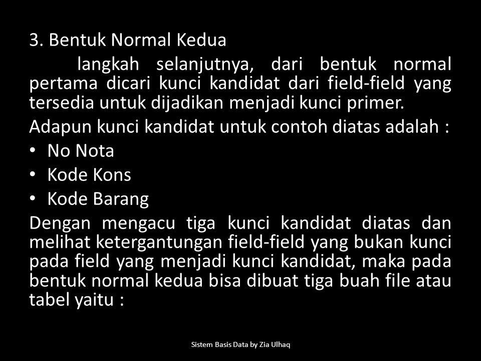 3. Bentuk Normal Kedua langkah selanjutnya, dari bentuk normal pertama dicari kunci kandidat dari field-field yang tersedia untuk dijadikan menjadi ku