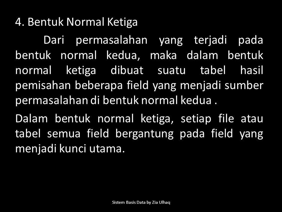 4. Bentuk Normal Ketiga Dari permasalahan yang terjadi pada bentuk normal kedua, maka dalam bentuk normal ketiga dibuat suatu tabel hasil pemisahan be