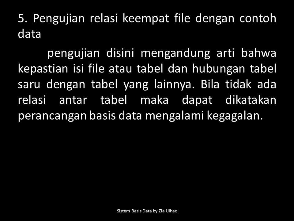 5. Pengujian relasi keempat file dengan contoh data pengujian disini mengandung arti bahwa kepastian isi file atau tabel dan hubungan tabel saru denga