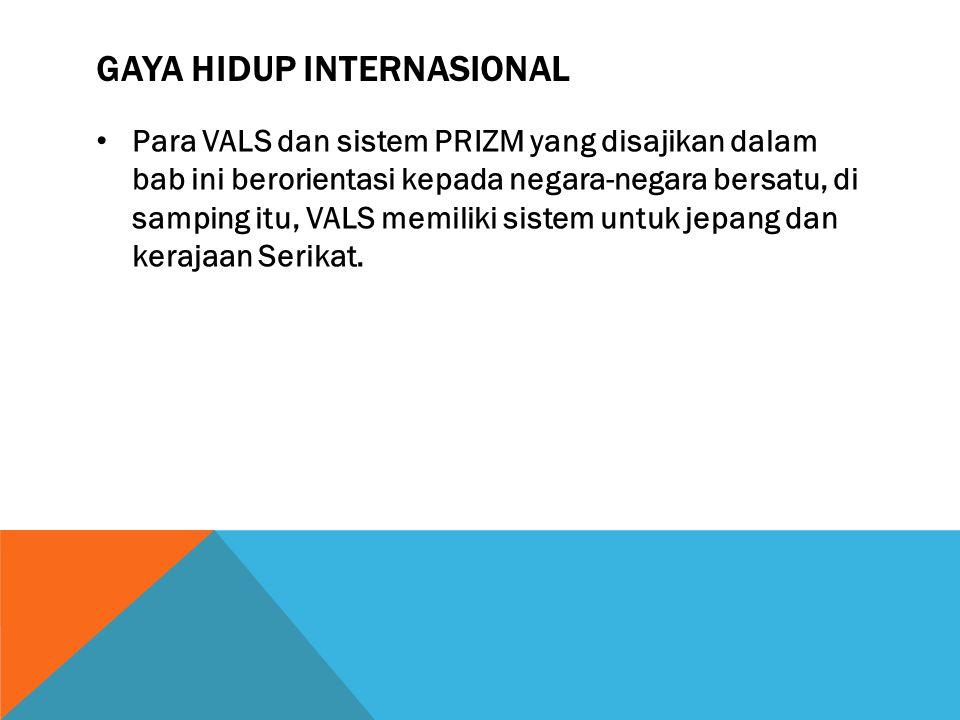 GAYA HIDUP INTERNASIONAL Para VALS dan sistem PRIZM yang disajikan dalam bab ini berorientasi kepada negara-negara bersatu, di samping itu, VALS memil