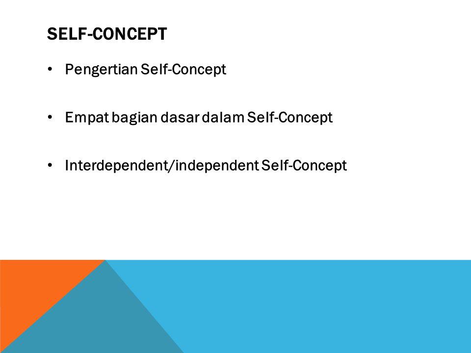 SELF-CONCEPT Pengertian Self-Concept Empat bagian dasar dalam Self-Concept Interdependent/independent Self-Concept