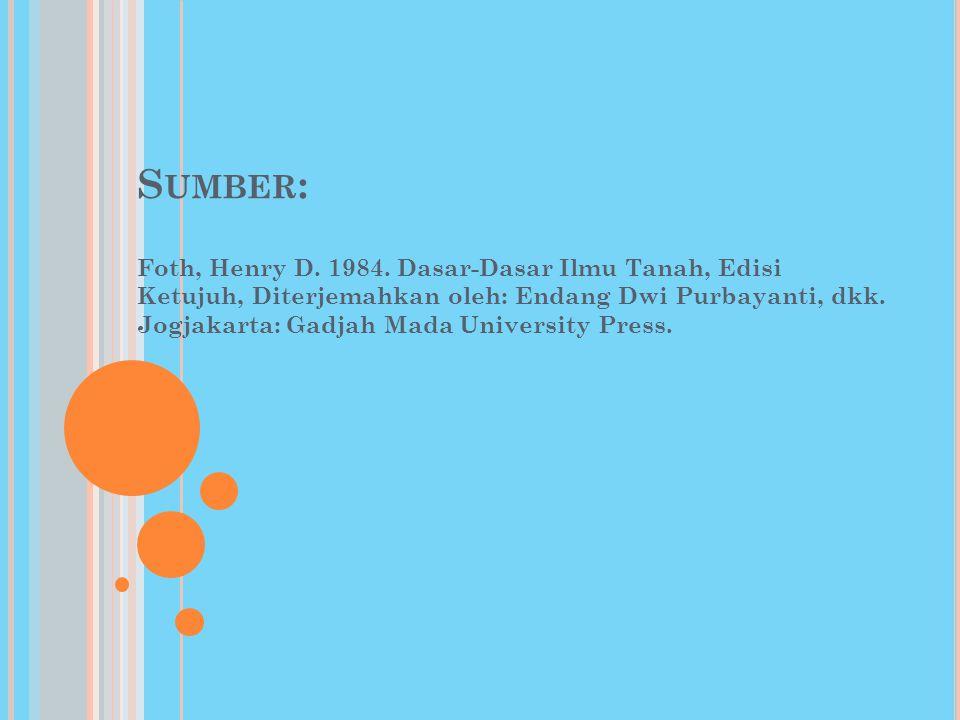 S UMBER : Foth, Henry D. 1984. Dasar-Dasar Ilmu Tanah, Edisi Ketujuh, Diterjemahkan oleh: Endang Dwi Purbayanti, dkk. Jogjakarta: Gadjah Mada Universi