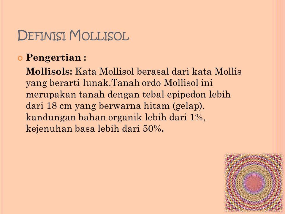 D EFINISI M OLLISOL Pengertian : Mollisols: Kata Mollisol berasal dari kata Mollis yang berarti lunak.Tanah ordo Mollisol ini merupakan tanah dengan t