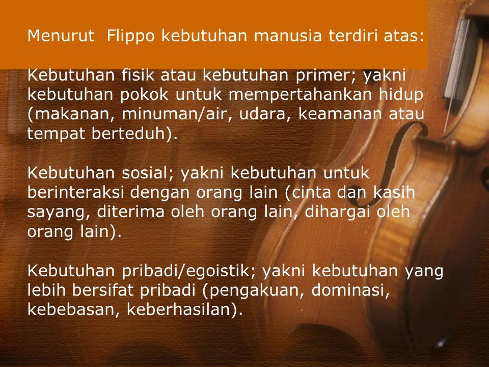 Menurut Flippo kebutuhan manusia terdiri atas: Kebutuhan fisik atau kebutuhan primer; yakni kebutuhan pokok untuk mempertahankan hidup (makanan, minuman/air, udara, keamanan atau tempat berteduh).