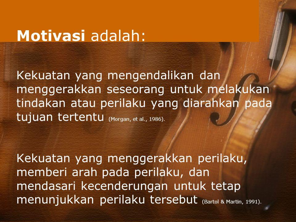 Motivasi adalah: Kekuatan yang mengendalikan dan menggerakkan seseorang untuk melakukan tindakan atau perilaku yang diarahkan pada tujuan tertentu (Mo