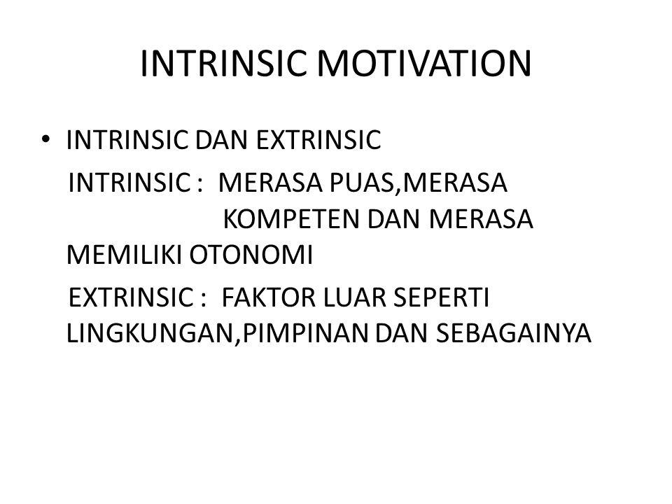 INTRINSIC MOTIVATION INTRINSIC DAN EXTRINSIC INTRINSIC : MERASA PUAS,MERASA KOMPETEN DAN MERASA MEMILIKI OTONOMI EXTRINSIC : FAKTOR LUAR SEPERTI LINGKUNGAN,PIMPINAN DAN SEBAGAINYA