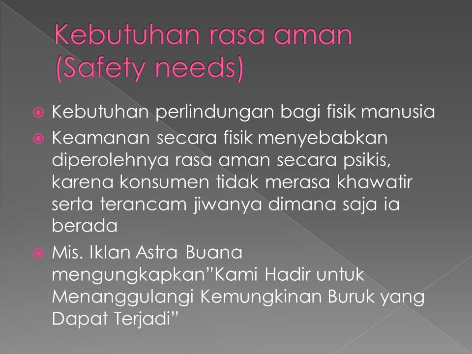  Kebutuhan perlindungan bagi fisik manusia  Keamanan secara fisik menyebabkan diperolehnya rasa aman secara psikis, karena konsumen tidak merasa khawatir serta terancam jiwanya dimana saja ia berada  Mis.