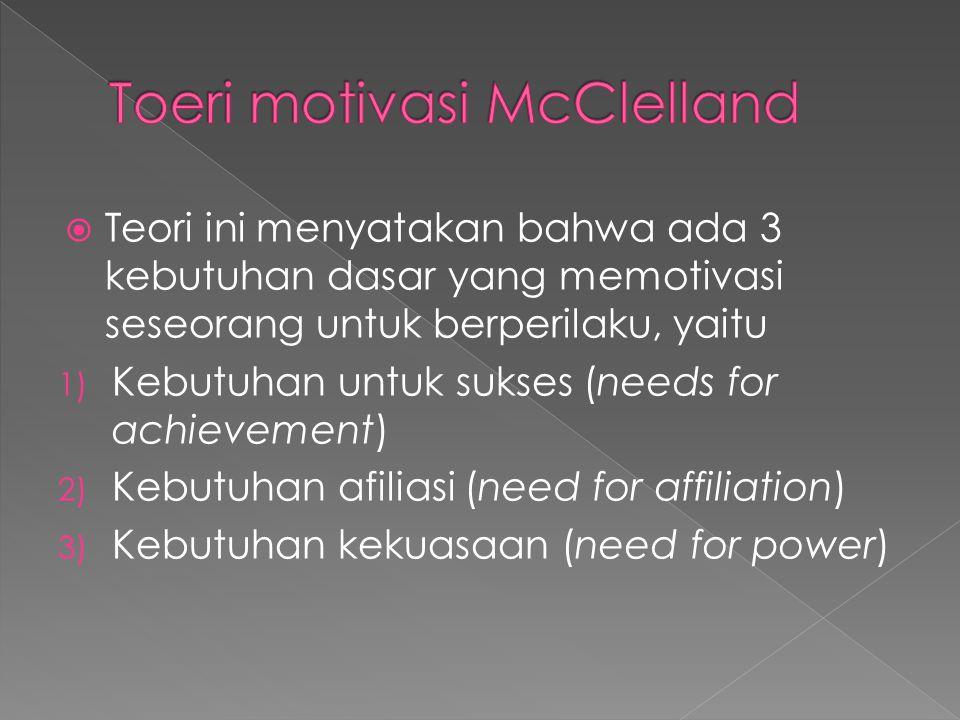  Teori ini menyatakan bahwa ada 3 kebutuhan dasar yang memotivasi seseorang untuk berperilaku, yaitu 1) Kebutuhan untuk sukses (needs for achievement) 2) Kebutuhan afiliasi (need for affiliation) 3) Kebutuhan kekuasaan (need for power)