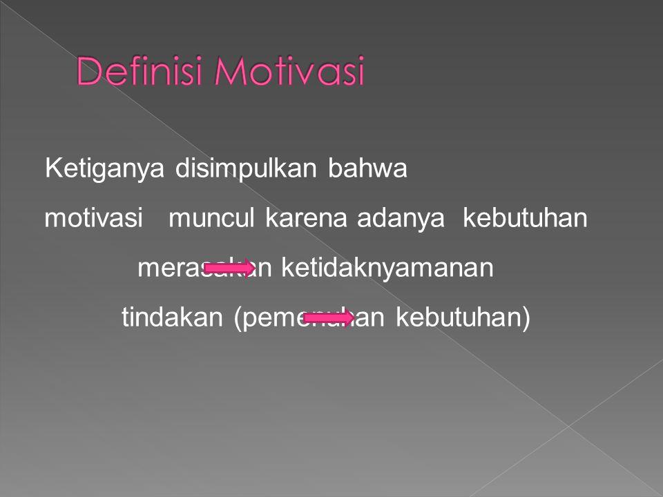 Ketiganya disimpulkan bahwa motivasi muncul karena adanya kebutuhan merasakan ketidaknyamanan tindakan (pemenuhan kebutuhan)