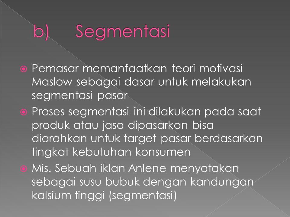  Pemasar memanfaatkan teori motivasi Maslow sebagai dasar untuk melakukan segmentasi pasar  Proses segmentasi ini dilakukan pada saat produk atau jasa dipasarkan bisa diarahkan untuk target pasar berdasarkan tingkat kebutuhan konsumen  Mis.