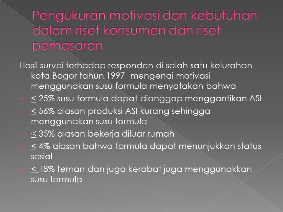 Hasil survei terhadap responden di salah satu kelurahan kota Bogor tahun 1997 mengenai motivasi menggunakan susu formula menyatakan bahwa o < 25% susu formula dapat dianggap menggantikan ASI o < 56% alasan produksi ASI kurang sehingga menggunakan susu formula o < 35% alasan bekerja diluar rumah o < 4% alasan bahwa formula dapat menunjukkan status sosial o < 18% teman dan juga kerabat juga menggunakkan susu formula