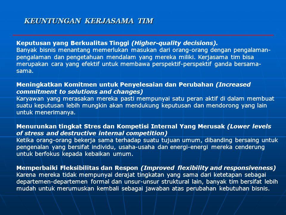 Bentuk Umum Dari Kerjasama Tim Bentuk Umum Dari Kerjasama Tim 6. TIPE-TIPE KERJASAMA TIM Tim Pemecahan Masalah (Problem-solving Teams) Kerjasama tim p