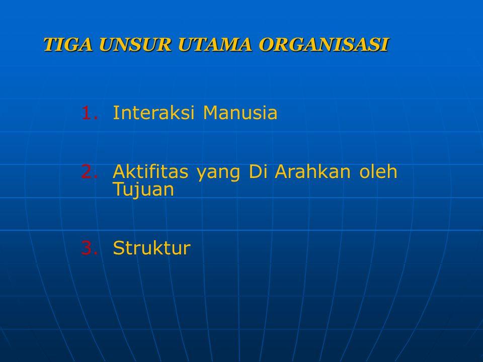 TIGA UNSUR UTAMA ORGANISASI 1.Interaksi Manusia 2.Aktifitas yang Di Arahkan oleh Tujuan 3.Struktur