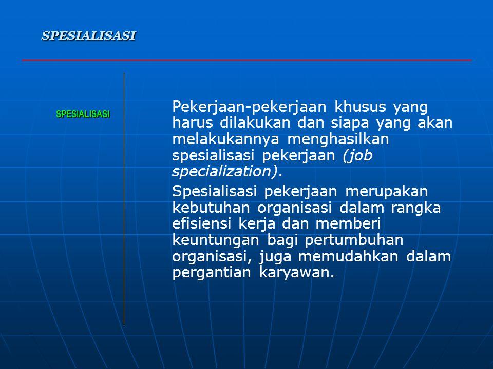 a. MEMBENTUK STRUKTUR ORGANISASI SPESIALISASI –Spesialisasi (spesialisasi pekerjaan), Spesialisasi (spesialisasi pekerjaan),Spesialisasi (spesialisasi