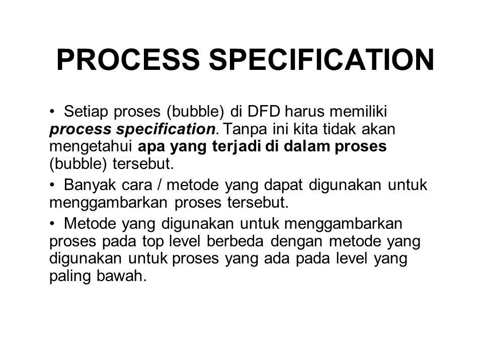 PROCESS SPECIFICATION Setiap proses (bubble) di DFD harus memiliki process specification. Tanpa ini kita tidak akan mengetahui apa yang terjadi di dal