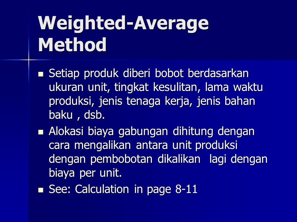 Weighted-Average Method Setiap produk diberi bobot berdasarkan ukuran unit, tingkat kesulitan, lama waktu produksi, jenis tenaga kerja, jenis bahan ba