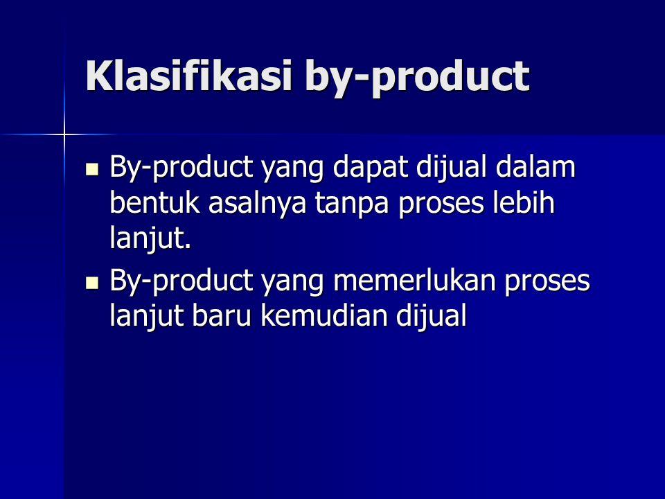 Klasifikasi by-product By-product yang dapat dijual dalam bentuk asalnya tanpa proses lebih lanjut. By-product yang dapat dijual dalam bentuk asalnya