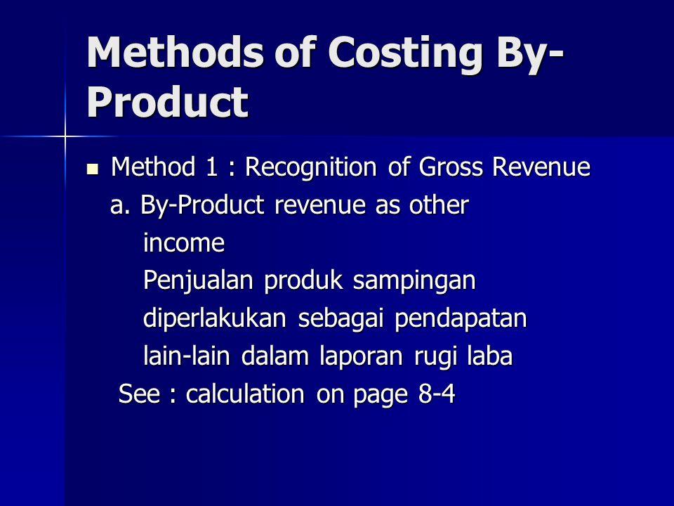 Weighted-Average Method Setiap produk diberi bobot berdasarkan ukuran unit, tingkat kesulitan, lama waktu produksi, jenis tenaga kerja, jenis bahan baku, dsb.