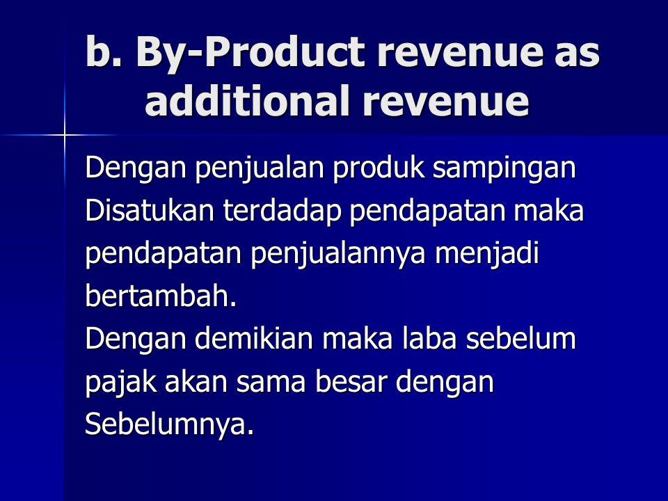 b. By-Product revenue as additional revenue Dengan penjualan produk sampingan Disatukan terdadap pendapatan maka pendapatan penjualannya menjadi berta