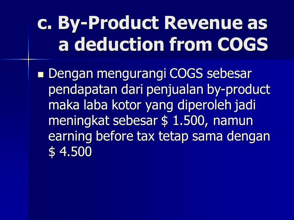 c. By-Product Revenue as a deduction from COGS Dengan mengurangi COGS sebesar pendapatan dari penjualan by-product maka laba kotor yang diperoleh jadi