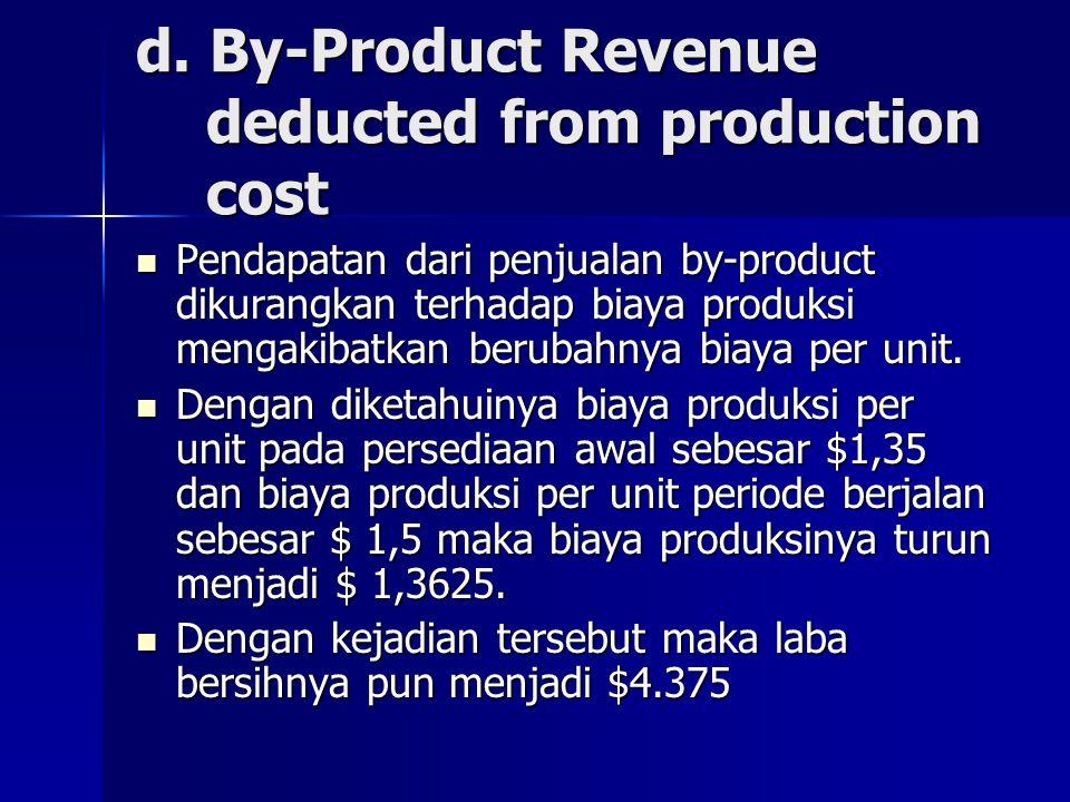 d. By-Product Revenue deducted from production cost Pendapatan dari penjualan by-product dikurangkan terhadap biaya produksi mengakibatkan berubahnya