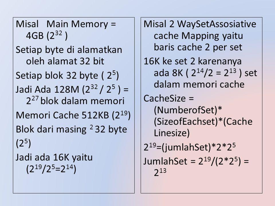 Misal 2 WaySetAssosiative cache Mapping yaitu baris cache 2 per set 16K ke set 2 karenanya ada 8K ( 2 14 /2 = 2 13 ) set dalam memori cache CacheSize