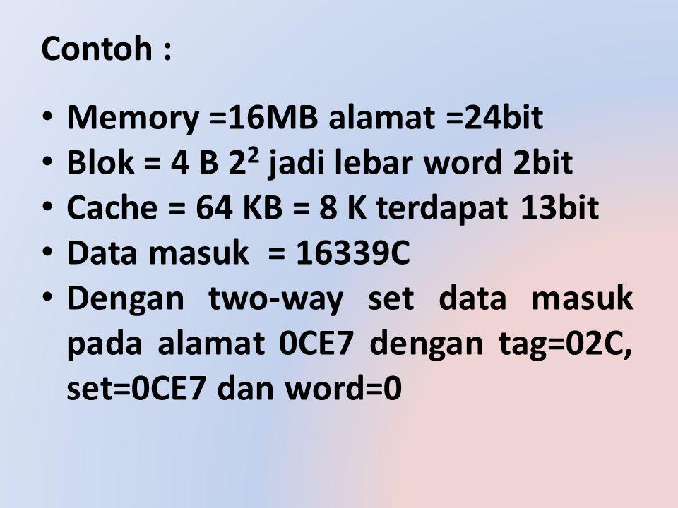 Contoh : Memory =16MB alamat =24bit Blok = 4 B 2 2 jadi lebar word 2bit Cache = 64 KB = 8 K terdapat 13bit Data masuk = 16339C Dengan two-way set data