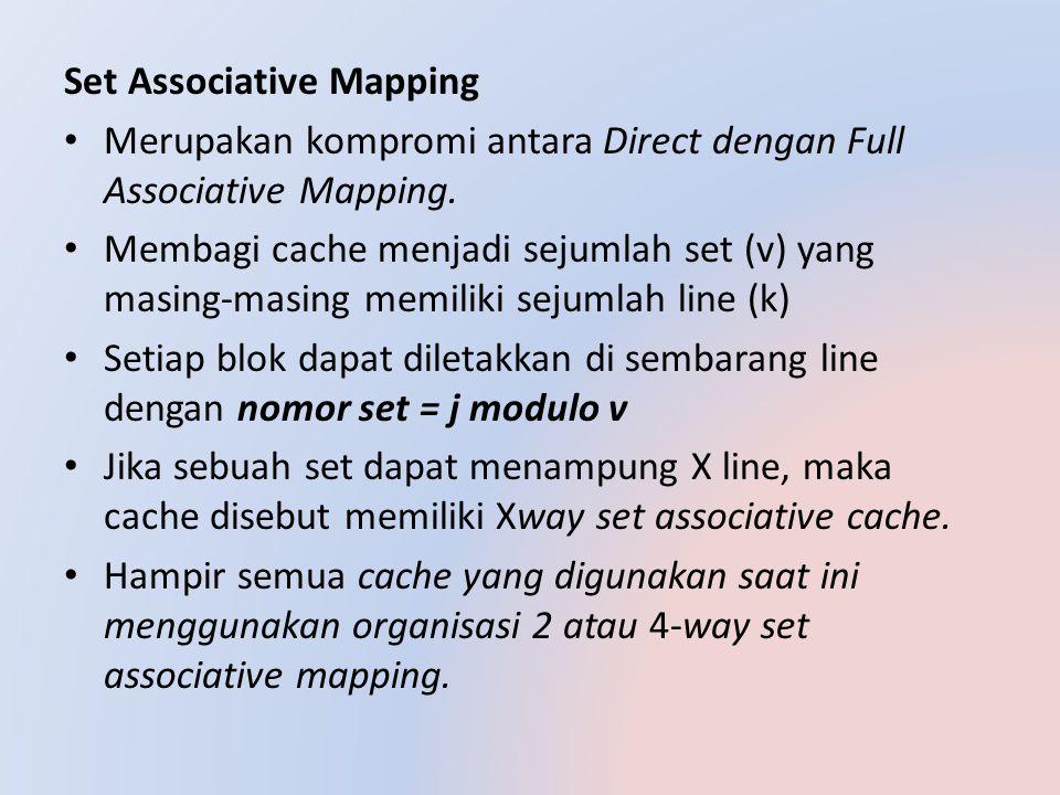 Ketika alamat dipetakan untuk mengatur, skema pemetaan langsung digunakan, dan kemudian pemetaan asosiatif digunakan dalam set Format untuk alamat 13 bit di bidang yang ditetapkan, Identifikasi set dituju akan ditemukan jika berada dalam cache, Ada 5bit untuk bidang Kata, ada 14bit bidang tag, 32bit sisanya dari alamat