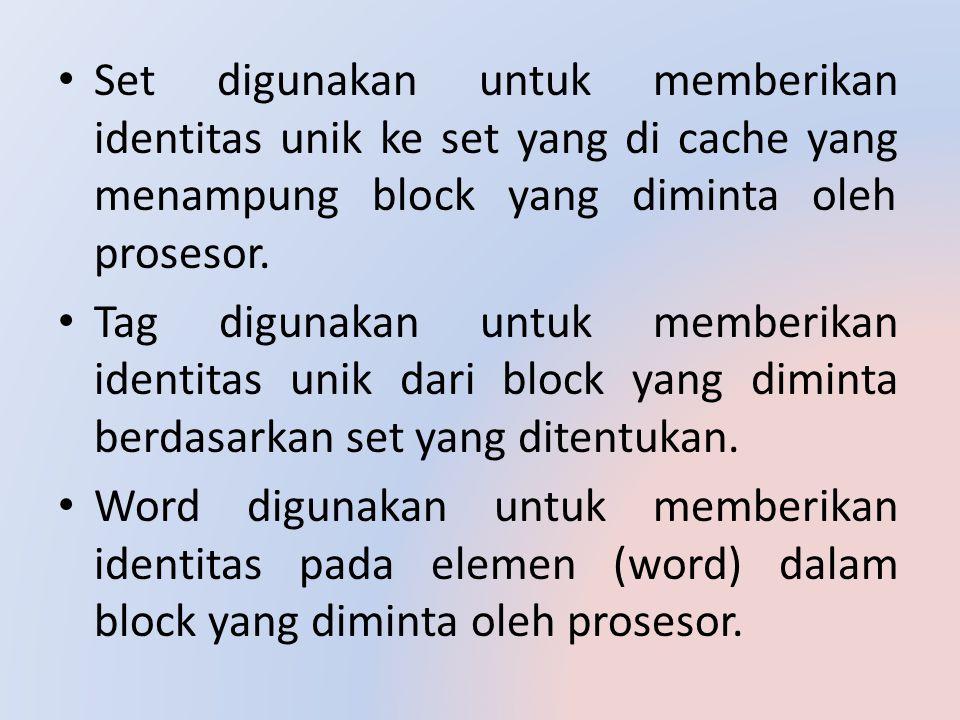 Set digunakan untuk memberikan identitas unik ke set yang di cache yang menampung block yang diminta oleh prosesor. Tag digunakan untuk memberikan ide