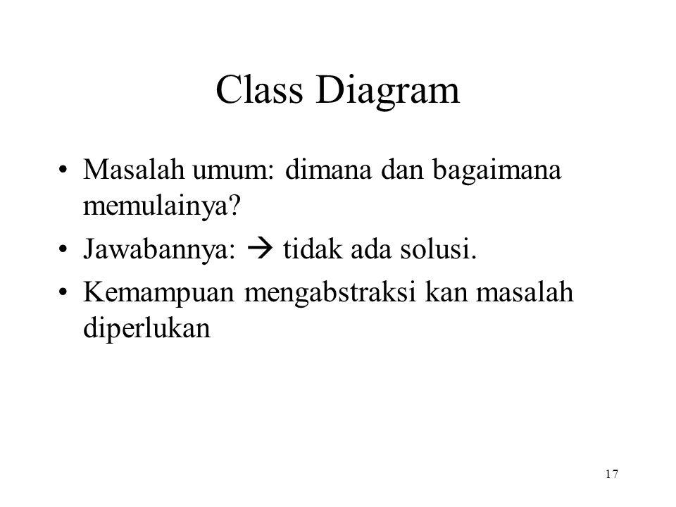 17 Class Diagram Masalah umum: dimana dan bagaimana memulainya? Jawabannya:  tidak ada solusi. Kemampuan mengabstraksi kan masalah diperlukan