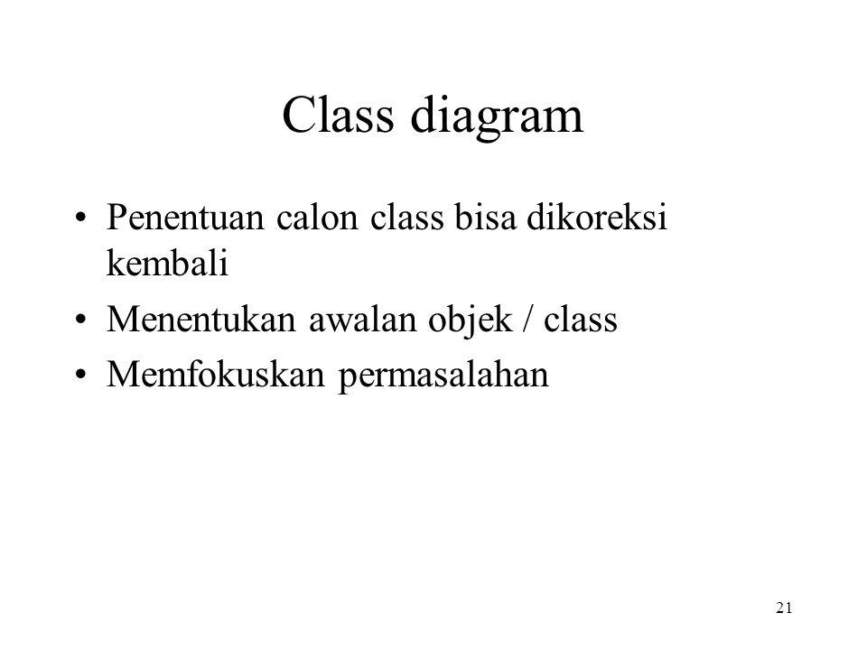 21 Class diagram Penentuan calon class bisa dikoreksi kembali Menentukan awalan objek / class Memfokuskan permasalahan