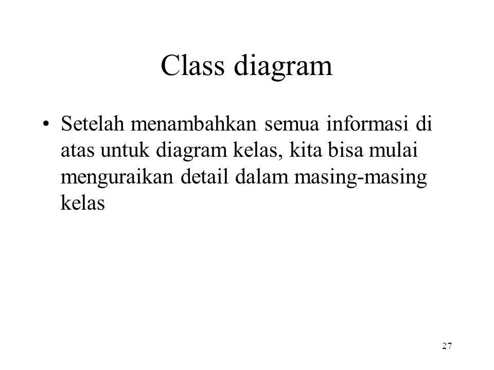 27 Class diagram Setelah menambahkan semua informasi di atas untuk diagram kelas, kita bisa mulai menguraikan detail dalam masing-masing kelas